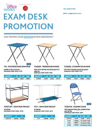 Exam desk promotion